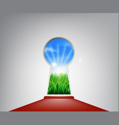 Red carpet idyllic landscape keyhole door vector