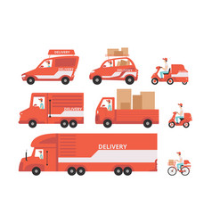 Red delivery vehicles set express delivery vector