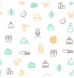 sauna thin line seamless pattern background vector image