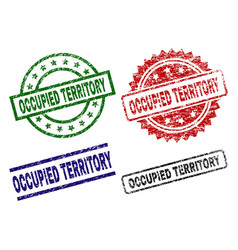 Scratched textured occupied territory stamp seals vector