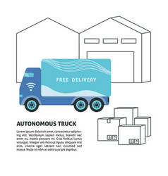 self-driving truck and warehouse banner template vector image