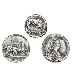 set ancient coins or money roman and greek cash vector image