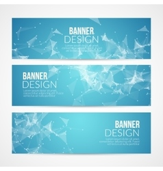 Set blue geometric polygonal banners vector