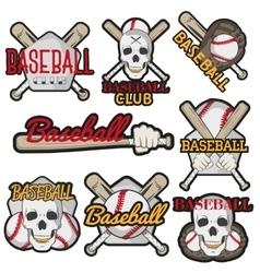 set colorful baseball club labels sport vector image