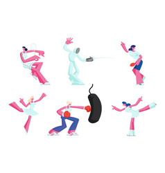 set female characters gaining sports activity vector image