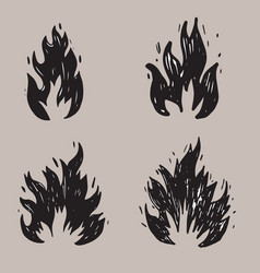 Set hand drawn fire and fireball doodle sketch vector