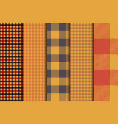 Set of 5 options tartan seamless pattern vector