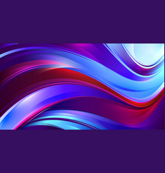Shining wavy background with red and blue waves vector