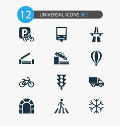 Shipment icons set with traffic light monorail vector