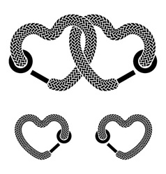 Shoelace linked hearts black white symbols vector