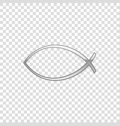 Silver christian fish symbol isolated object vector