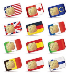 Sim cards with flags vector