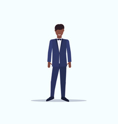 Smiling groom in suit young african american man vector