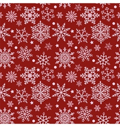 Snowflakes on red background seamless texture vector image