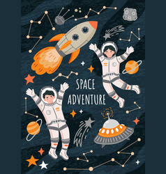 space adventure poster with astronauts vector image