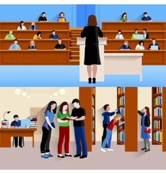 Students At University Horizontal Banners vector