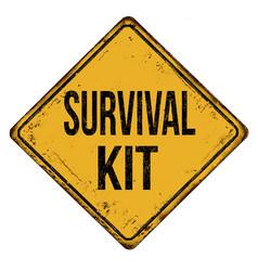Survival kit vintage rusty metal sign vector
