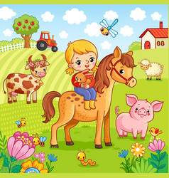 The girl sits on a horse and holds a rabbit in her vector
