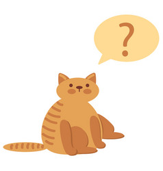 Thinking cat with questions mark above against vector