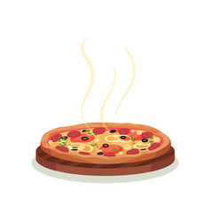 traditional italian pizza on wooden board vector image