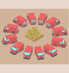 twelve identical cars are parked around the boxes vector image