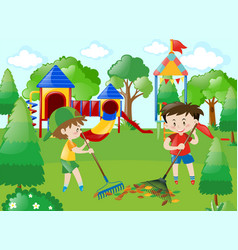 Two boys sweeping leaves in park vector