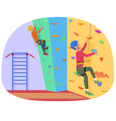two people climbing on a rock-climbing wall vector image