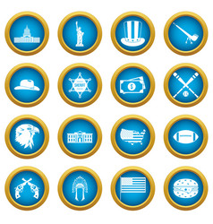usa icons blue circle set vector image