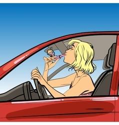 Woman driver paint lipstick vector