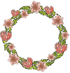 wreath with decorative pink flowers and hearts vector image