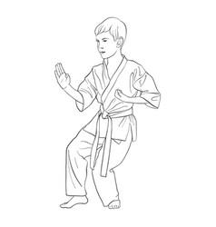 young karate boy vector image