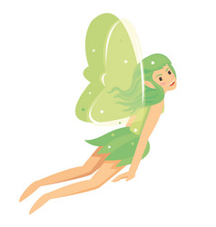 young pretty angelic fairy girl with green costume vector image