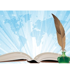 Book on a blue shining background vector image