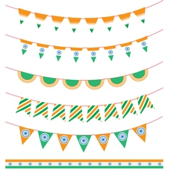Happy India Independence Day set of ribbon garland vector image vector image