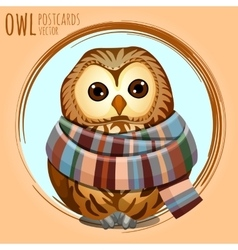 Sad owl in a warm scarf cartoon series vector image vector image