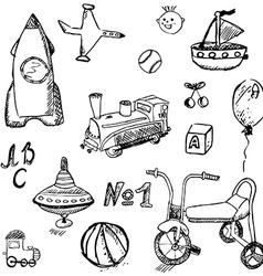 Baby child toys set hand drawn sketch isolated on vector image