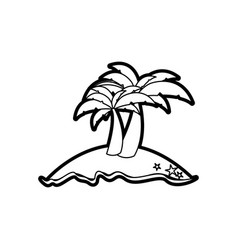 black thick contour of island with two palms vector image vector image