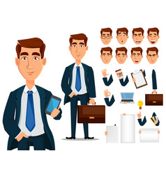 business man in formal suit cartoon character vector image vector image
