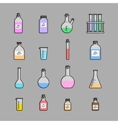 chemical glassware icons set vector image