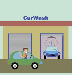man pulls up to the car wash vector image
