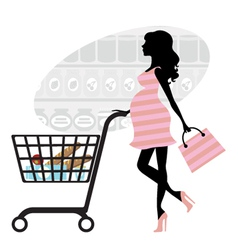 Pregnant woman shopping vector image vector image