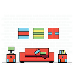 red sofa with two curbstones vector image