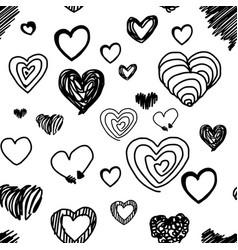 seamless pattern various heart design vector image