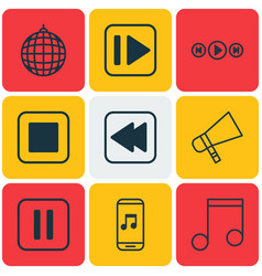 set of 9 multimedia icons includes audio buttons vector image vector image