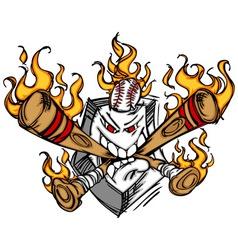 Softball Baseball Plate and Bats Flaming Cartoon vector image vector image