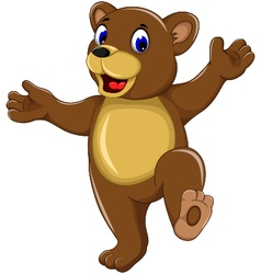 happy bear cartoon for you design vector image