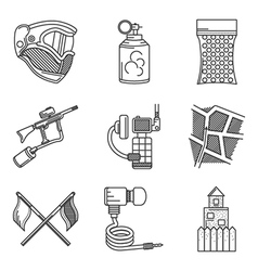Black line icons collection of paintball vector image