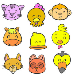 cute animal head style of doodles vector image