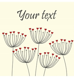Cute unique floral card with dandelions and hearts vector image vector image