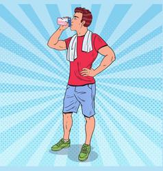 pop art muscular man drinking protein shake vector image